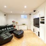 Finished basement with cork flooring | Dulles, VA
